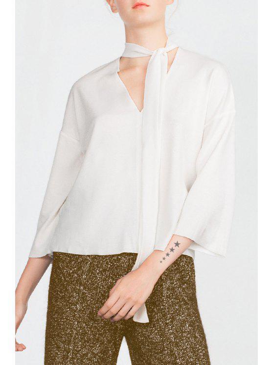 shop V-Neck 3/4 Sleeve Solid Color Blouse - WHITE L