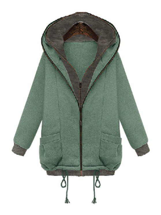 outfit Color Block Long Sleeves Hooded Coat - MINT GREEN S