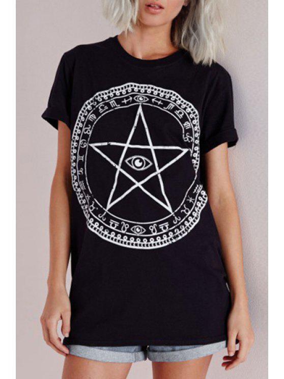 lady Short Sleeve Abstract Print T-Shirt - BLACK XS