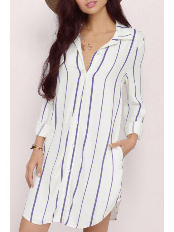 lady Striped Flat Collar Long Sleeves Shirt Dress - WHITE AND PURPLE 2XL