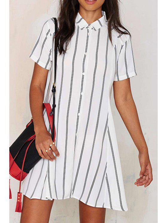 a1158c33b9 21% OFF  2019 Striped Flat Collar Short Sleeves Shirt Dress In WHITE ...