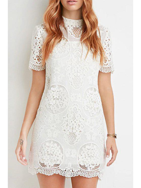 shops Solid Color Openwork Lace Hook Short Sleeves Dress - WHITE XS