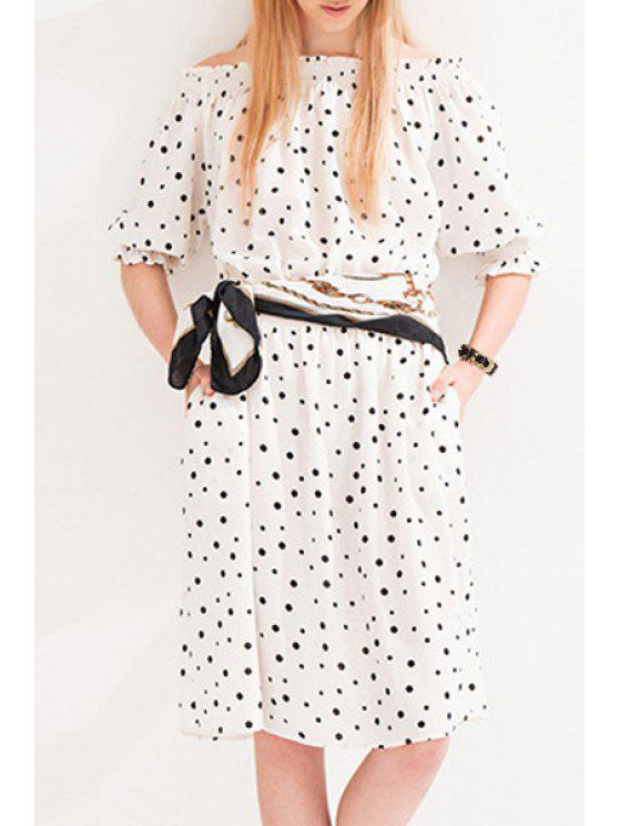 lady Slash Neck Half Sleeve Polka Dot Dress - WHITE XL