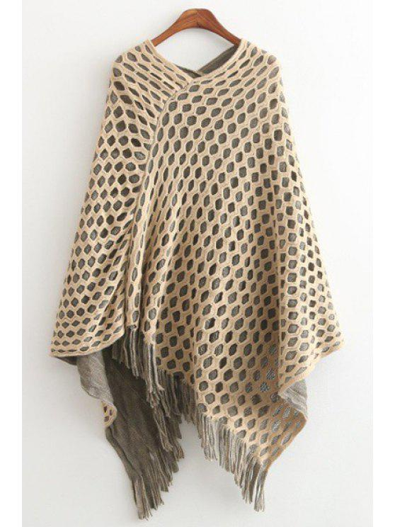 shop Fringes Solid Color Mesh Pullover Cape Sweater - OFF-WHITE ONE SIZE(FIT SIZE XS TO M)