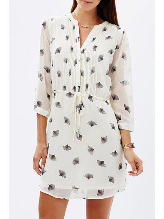 outfits Folding Fan Print Chiffon Dress - WHITE XS