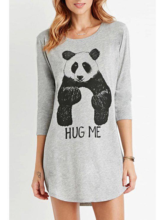 sale 3/4 Sleeve Panda Print Gray Dress - GRAY XS