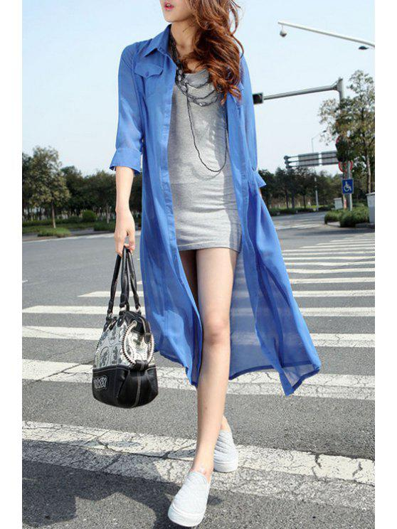 trendy Chiffon Turn Down Collar Long Sleeve Long Shirt - BLUE ONE SIZE(FIT SIZE XS TO M)