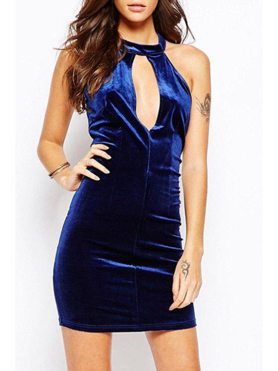 online Backless Velvet Bodycon Dress - SAPPHIRE BLUE XS