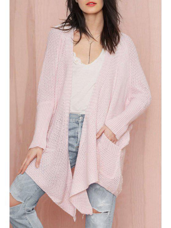 shop Pink Long Sleeve Collarless Cardigan - PINK ONE SIZE(FIT SIZE XS TO M)