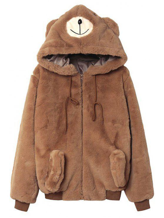 outfit Solid Color Bear Hooded Long Sleeve Coat - YELLOW S