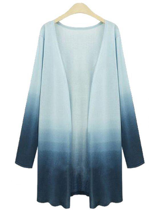 sale Ombre Color Plus Size Cardigan - BLUE XL