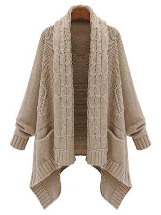 chic Open Front Cable Knit Irregular Cardigan - KHAKI XL