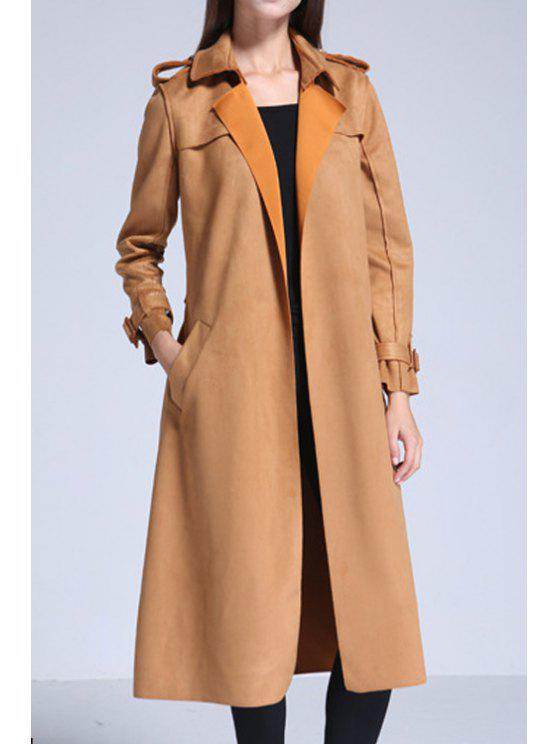 hot Solid Color Suede Lapel Collar Long Sleeves Trench Coat - YELLOW S