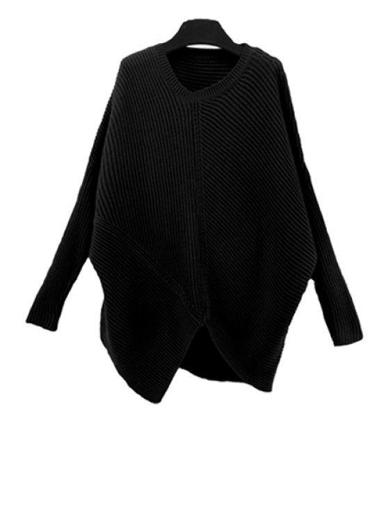 buy Skew Neck Plus Size Sweater - BLACK M