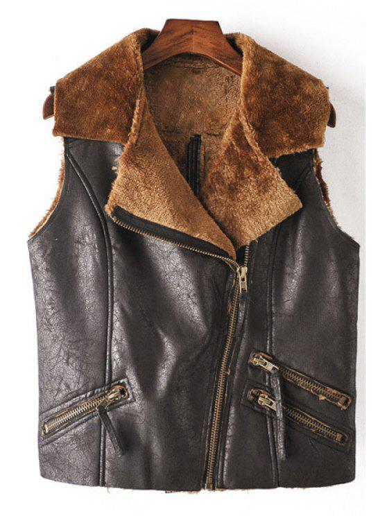 latest Zippered Fleece Lining Short Waistcoat - BLACK S