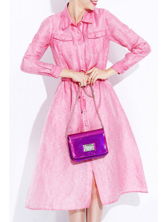 sale Solid Color Drawstring Flat Collar Long Sleeves Dress - PINK S