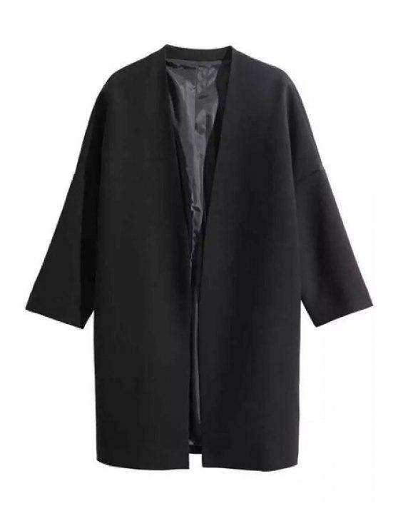 womens Open Front 3/4 Sleeve Black Trench Coat - BLACK S
