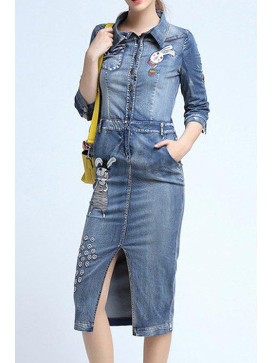 hot Cartoon Embroidery Front Slit Flat Collar Denim Dress - LIGHT BLUE XL