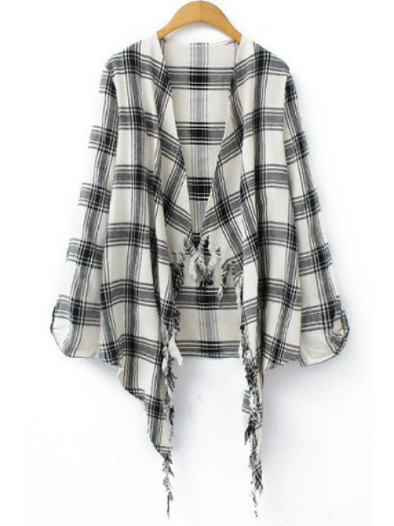 best Long Sleeve Plaid Self-Tie Blouse - WHITE L