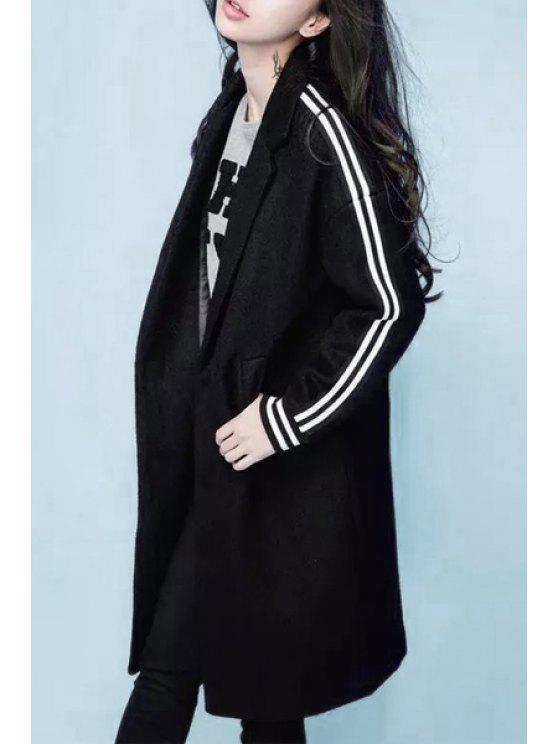 chic Lapel Letter Pattern Black Coat - BLACK M