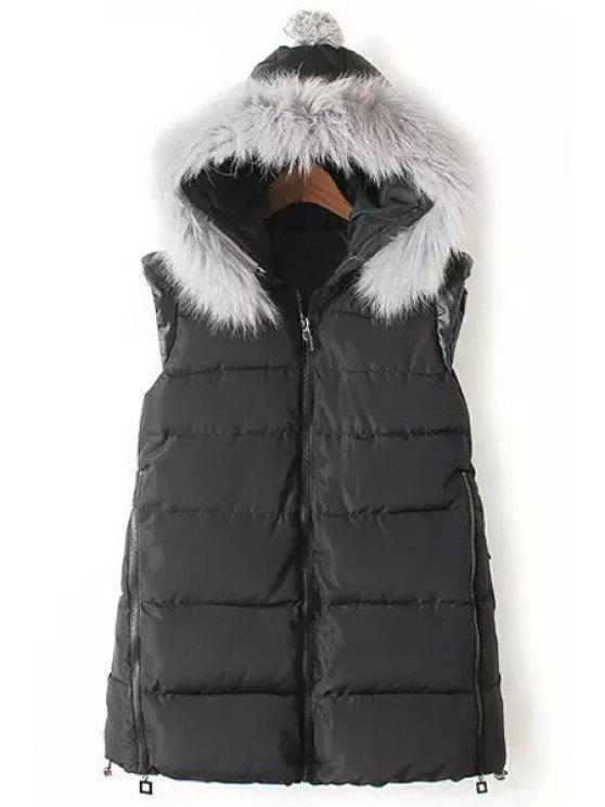 outfits Faux Fur Embellished Quilted Waistcoat - BLACK S