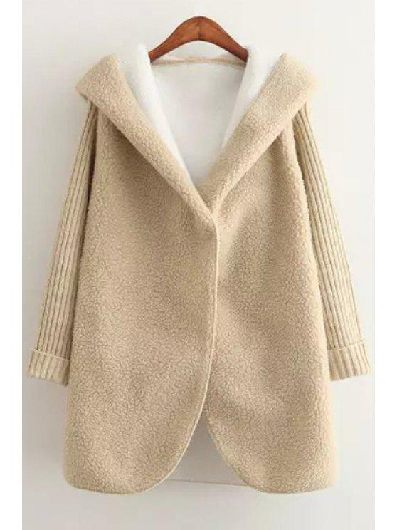 sale Hooded Long Sleeve Fleece Coat - YELLOW ONE SIZE(FIT SIZE XS TO M)