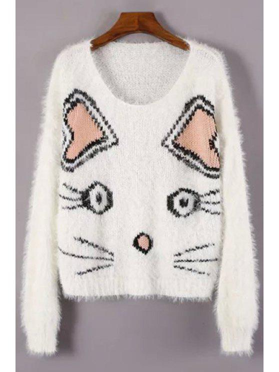 best Kitten Pattern Jacquard Jumper - WHITE ONE SIZE(FIT SIZE XS TO M)