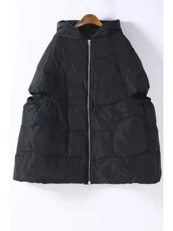 affordable Hooded Zip Up Quilted Down Coat - BLACK S