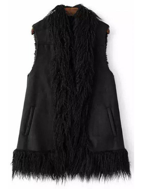 new Black Faux Fur Winter Waistcoat - BLACK S