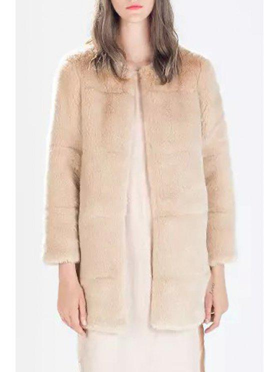 shops Round Neck Pink Faux Fur Coat - PINK S