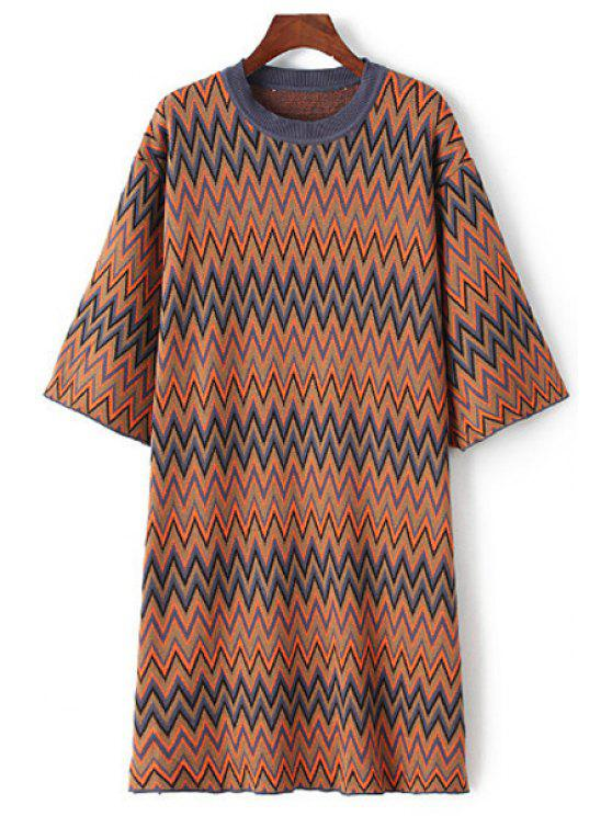 women Half Sleeve Zig Zag Sweater Dress - COLORMIX ONE SIZE(FIT SIZE XS TO M)