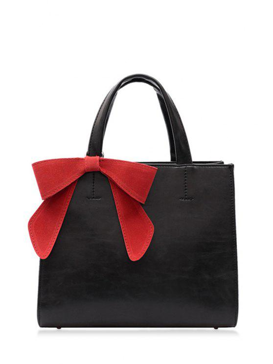 lady Bow Pure Color PU Leather Tote Bag - BLACK