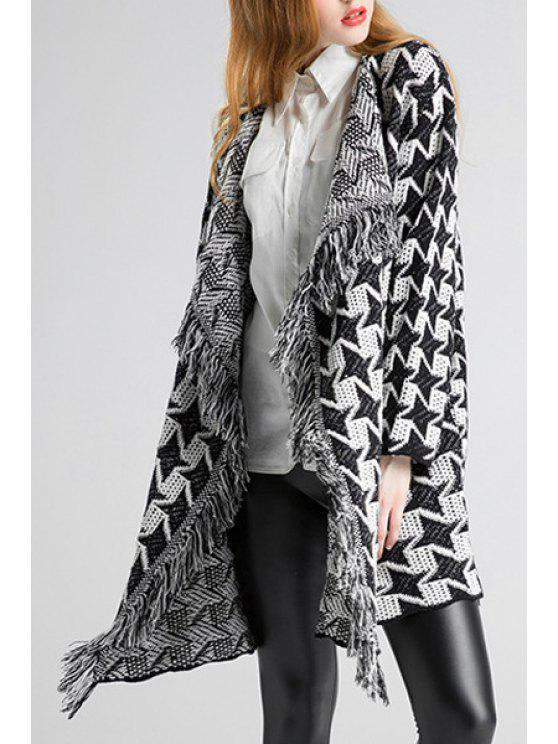 women Open Front Fringed Jacquard Cardigan - WHITE AND BLACK ONE SIZE(FIT SIZE XS TO M)
