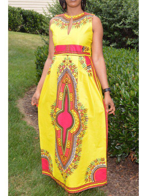 new Vintage Print Ethnic Style Sleeveless Dress - YELLOW S