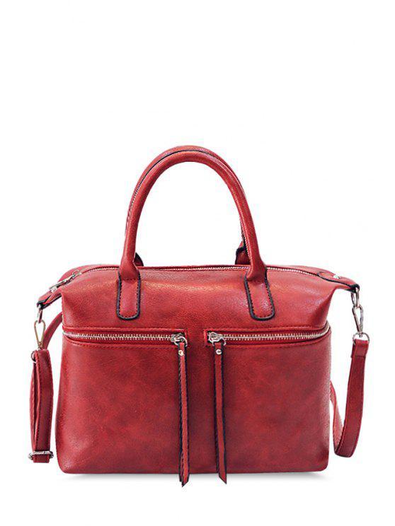 hot Fringe Solid Color Zipper Design Women's Tote Bag - WINE RED