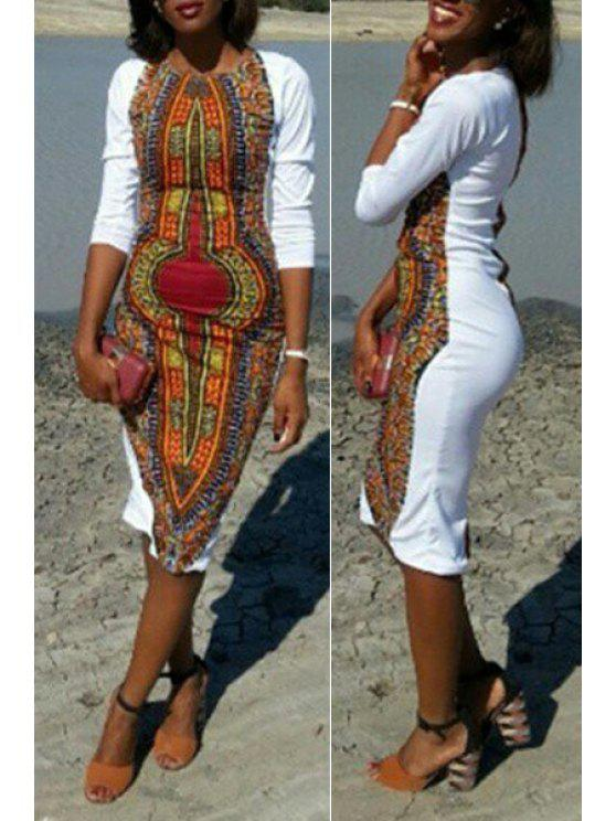 fashion Vintage Print Ethnic Style Back Slit Round Neck Dress - WHITE S