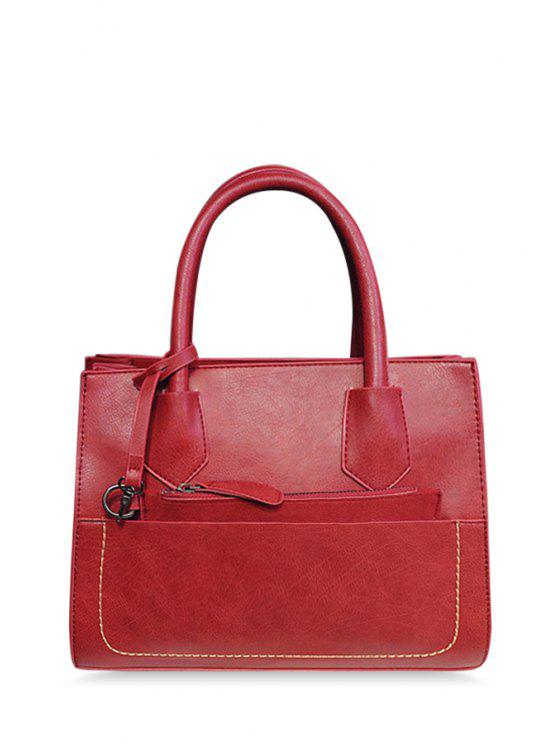 latest Pure Color Stitching PU Leather Tote Bag - WINE RED