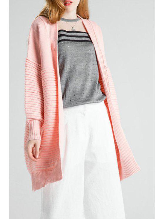 latest Open Front Side Slit Pure Color Cardigan - PINK ONE SIZE(FIT SIZE XS TO M)
