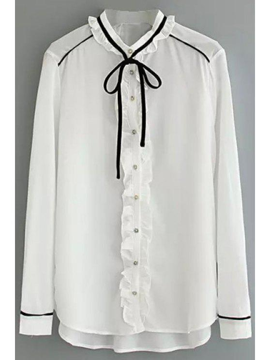 latest Ruffles Lace-Up High-Low Hem Simple Blouse - WHITE S