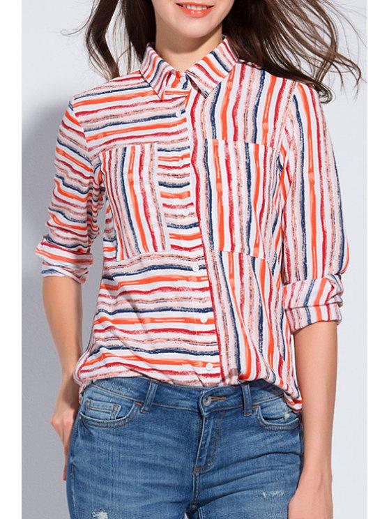 d7f8e8071 20% OFF] 2019 Colorful Striped Shirt Neck Long Sleeve Shirt In ...
