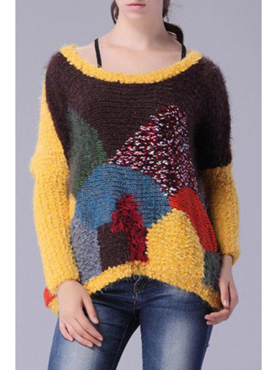sale Round Neck Colorful Sweater - YELLOW ONE SIZE(FIT SIZE XS TO M)
