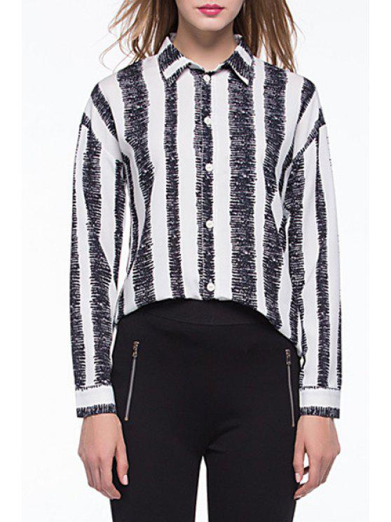 outfits Black White Striped Long Sleeve Shirt - WHITE AND BLACK XL