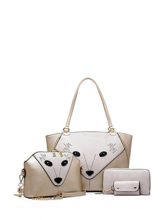 women Animal Pattern Zipper Metal Tote Bag - GOLDEN