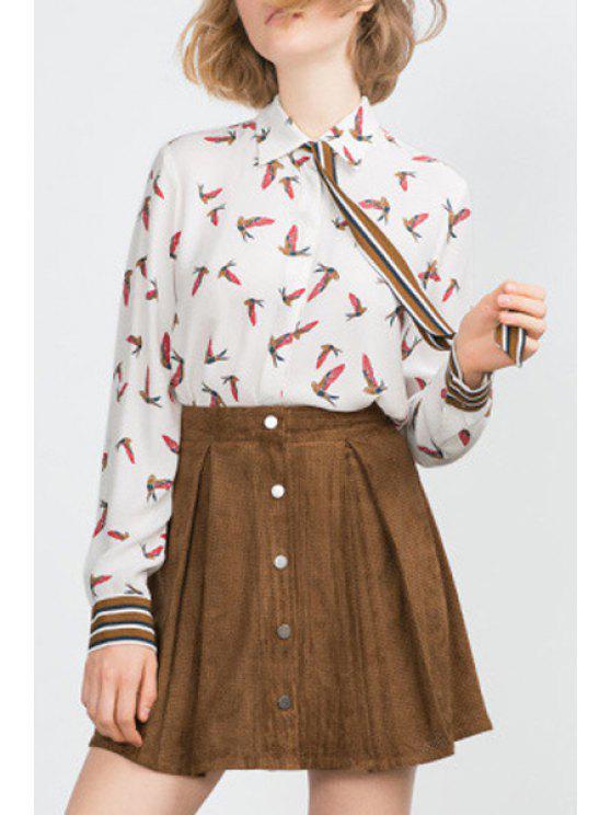 affordable Striped Bird Print Tie Flat Collar Shirt - WHITE S