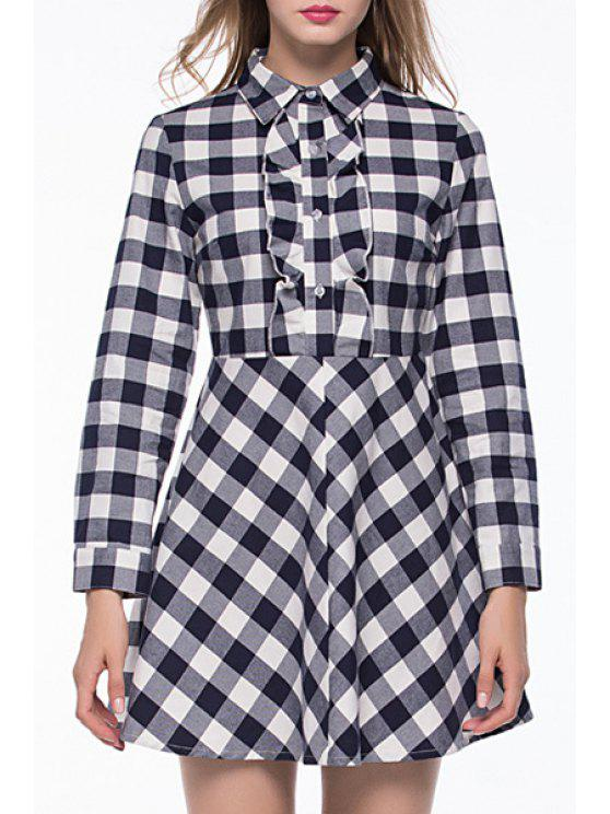 unique Checked Print Shirt Neck Long Sleeve Dress - WHITE AND BLACK XL