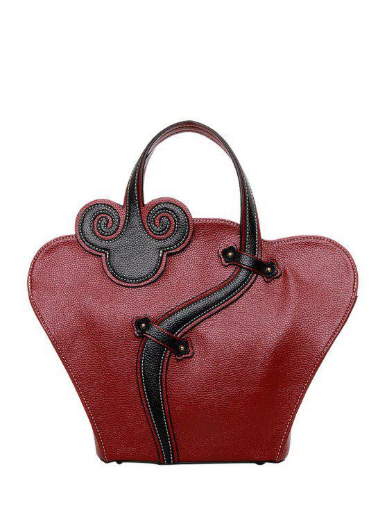 شيونغسام شكل اللون مطابقة النقش حقيبة حمل - نبيذ أحمر