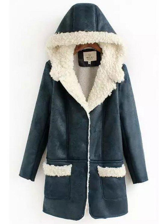 womens Faux Lamb Wool Suede Solid Color Coat - PURPLISH BLUE M