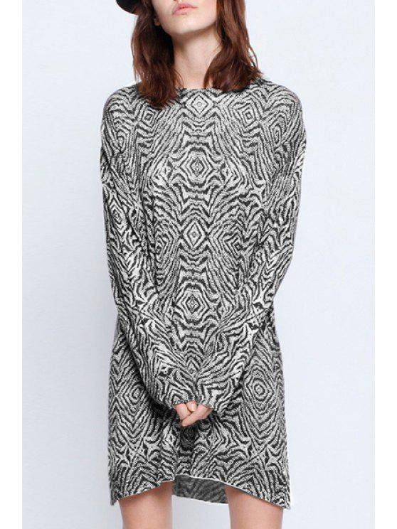 latest Striped Long Sleeve Sweater Dress - WHITE AND BLACK XL