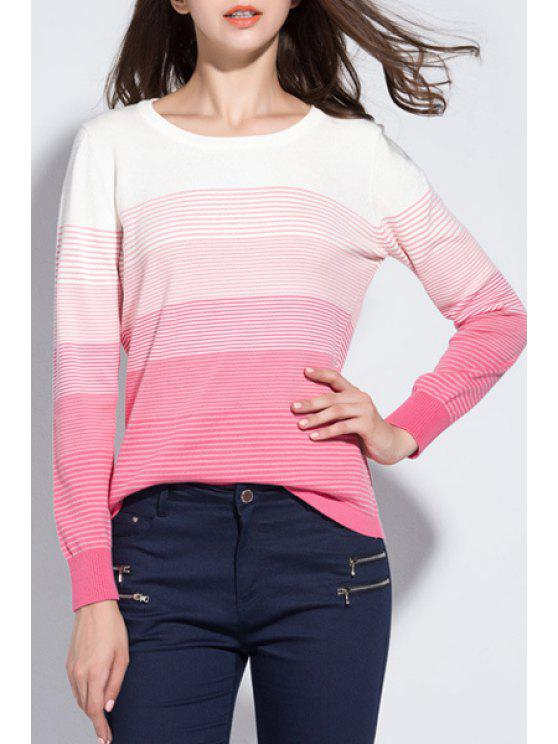 best Pink Striped Long Sleeve Jumper - PINK XL
