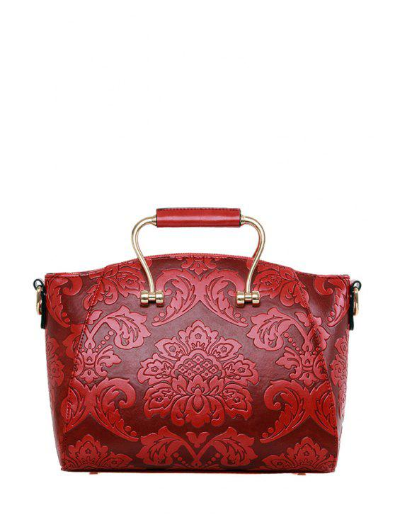 new Floral Embossing Metal Tote Bag - WINE RED